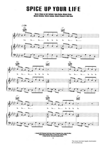 Spice Up Your Life - Spiceworld:  Sheet Music for Piano/Voice/Guitar