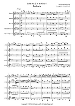Load image into Gallery viewer, Suite No.2 In B Minor: Badinerie by Johann Sebastian Bach, Woodwind quintet sheet music. An Arrangement for 3 Flutes And 2 Clarinets. Full Score And Instrumental Parts Included.