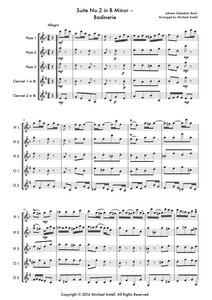 Suite No.2 In B Minor: Badinerie by Johann Sebastian Bach, Woodwind quintet sheet music. An Arrangement for 3 Flutes And 2 Clarinets. Full Score And Instrumental Parts Included.