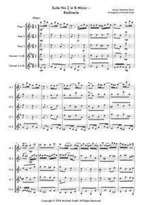 Suite No.2 In B Minor: Menuet by Johann Sebastian Bach, Woodwind quintet sheet music. An Arrangement for 3 Flutes And 2 Clarinets. Full Score And Instrumental Parts Included.