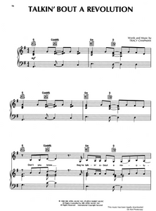 Talkin' About a Revolution by Tracy Chapman Sheet Music for Piano/Voice/Guitar.
