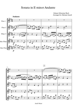 Load image into Gallery viewer, Download and print Sonata in E Minor Andante composed by Johann Sebastian Bach. Sheet Music arranged for Woodwind Ensembles, 3 Flutes and 2 Clarinets. Full score and Instrumental parts included.