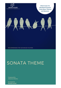 Cover art for  Sonata Theme composed by Johannes Brahms. Arranged for Woodwind Ensembles for Flute, Oboe, Clarinet and Bassoon. Full score and Instrumental parts included to download and print