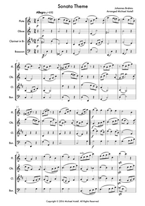 Download and print Sonata Theme composed by Johannes Brahms. Arranged for Woodwind Ensembles for Flute, Oboe, Clarinet and Bassoon. Full score and Instrumental parts included.