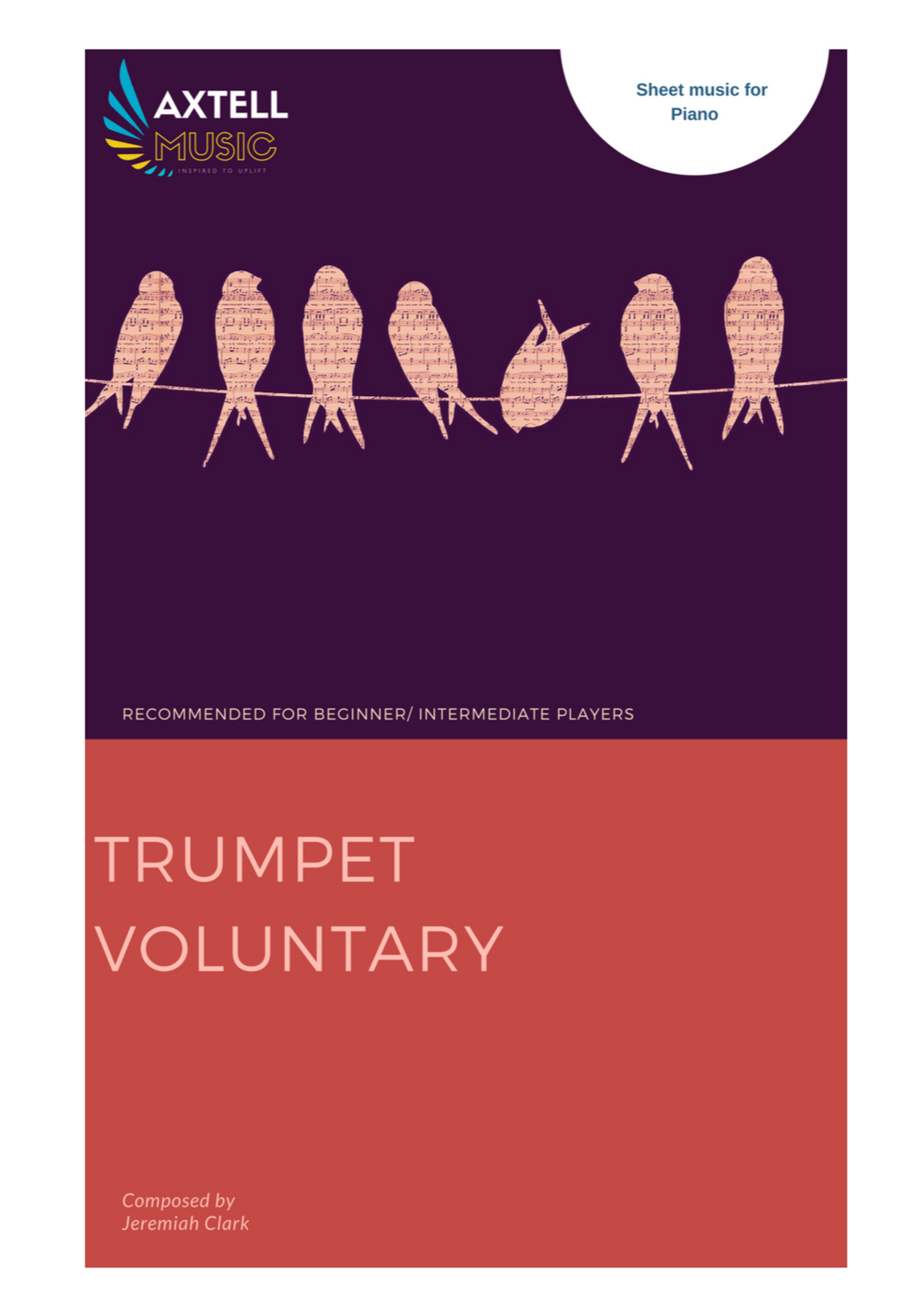 Cover art for Trumpet Voluntary sheet music composed by Jeremiah Clark. Arranged for Piano to download and print.