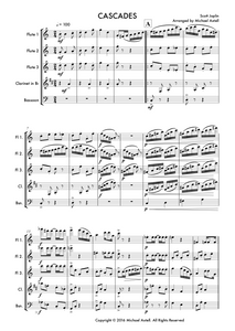 Download and print Cascades by Scott Joplin. Sheet music for a Woodwind ensemble. An arrangement for 3 Flutes and 2 Clarinets. Full score and Instrumental parts included.