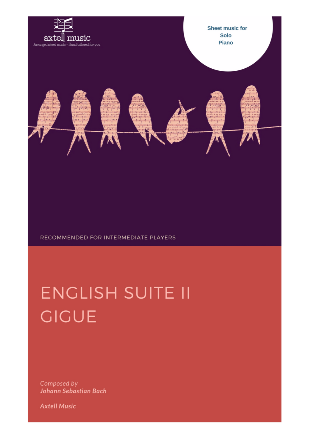 Cover art for English Suite II: Gigue composed by Johann Sebastian Bach, arranged for Easy Piano.