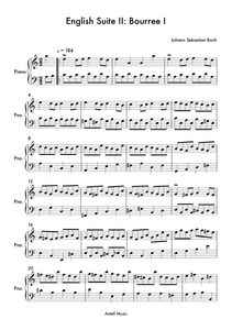 Download and print English Suite II Bourree I composed by Johann Sebastian Bach, arranged for Easy Piano.