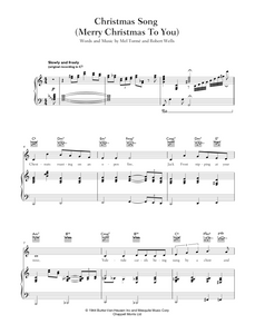 Download and print Christmas Song - (Merry Christmas To You): by Mel Tormé And Robert Wells. Sheet Music for Piano/Voice/Guitar.