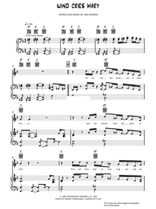 The Wind Cries Mary - Jimi Hendrix: Piano/Voice/Guitar Sheet Music