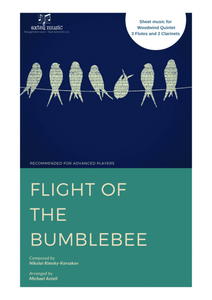 The cover art of Flight Of The Bumblebee sheet music, Woodwind Ensemble. An Arrangement for 3 Flutes And 2 Clarinets.