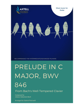 Load image into Gallery viewer,  Cover art for Well Tempered Clavier: Prelude in C Major, BWV 846 by Johann Sebastian Bach. Sheet Music for Guitar.