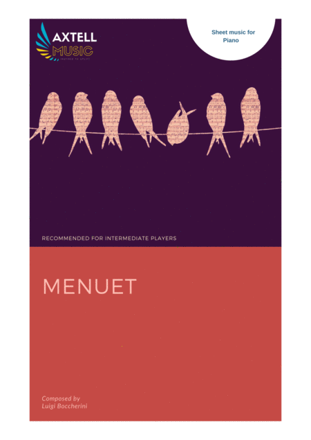 This is the art cover for Menuet - Luigi Boccherini: Piano Sheet Music | Axtell Music