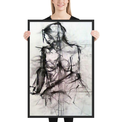 """Seated Woman"" Charcoal Drawing Framed matte paper poster"