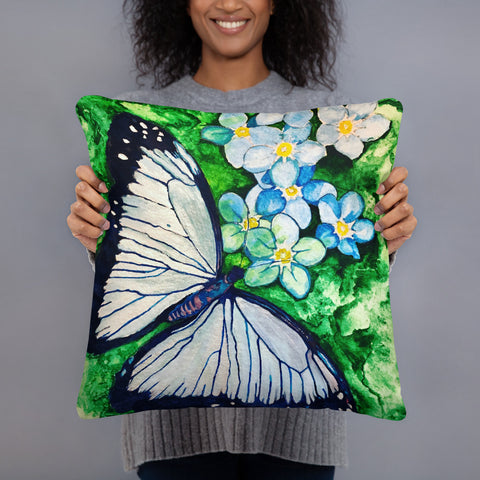 """Blue Butterfly"" Basic Pillow/Cushion"