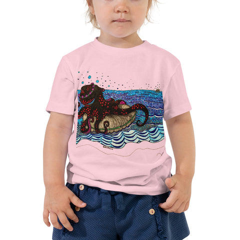 """Long Distance Love Octo"" Toddler Short Sleeve Tee"
