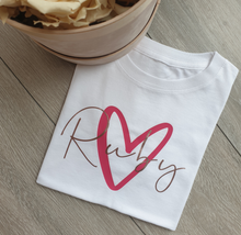 Load image into Gallery viewer, Heart and Name Women's T-shirts
