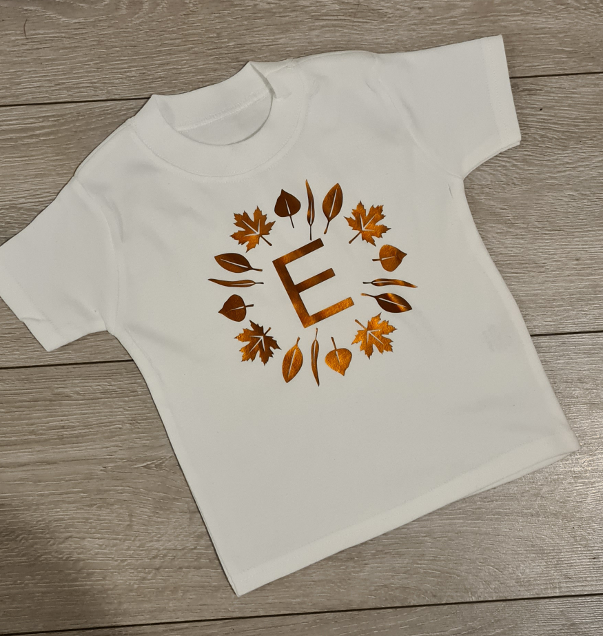 Leaf initial childs tee