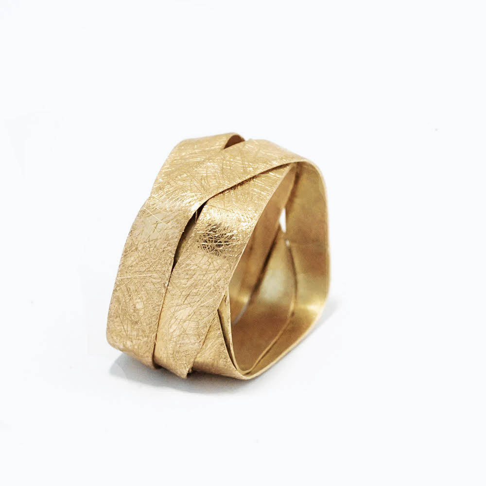18K yellow gold- Square - 5 Loops Uniue Ring