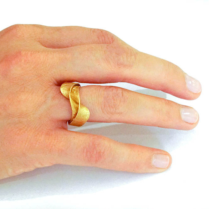 18k Gold  Statement Ring, Contemporary Organic Wedding Band,