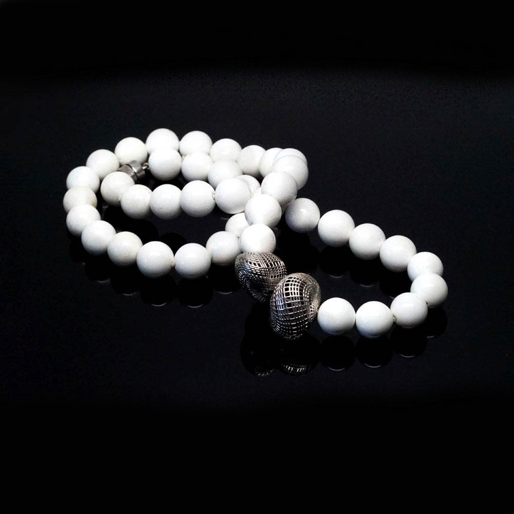 Silver - White Agate Necklace