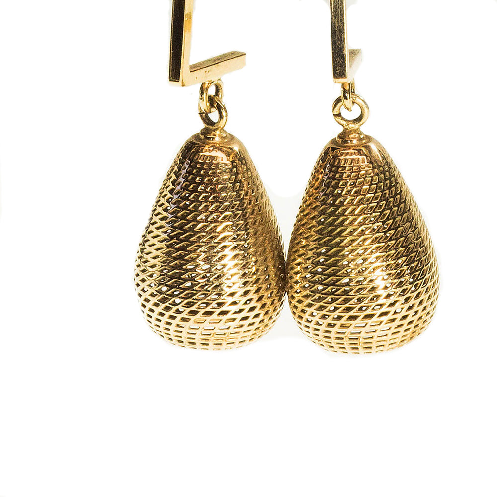 14K Yellow Gold Pineapple Dangle Earrings