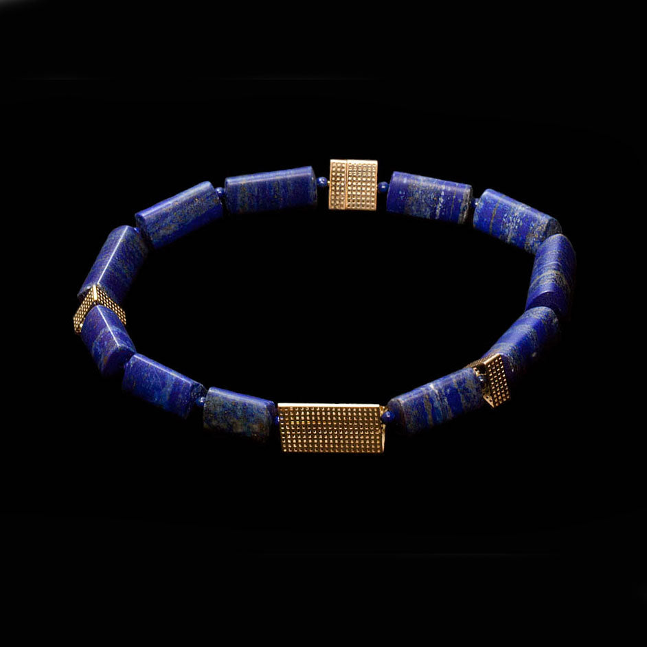 14 Karat Gold Large Lapis lazuli Beaded Necklace