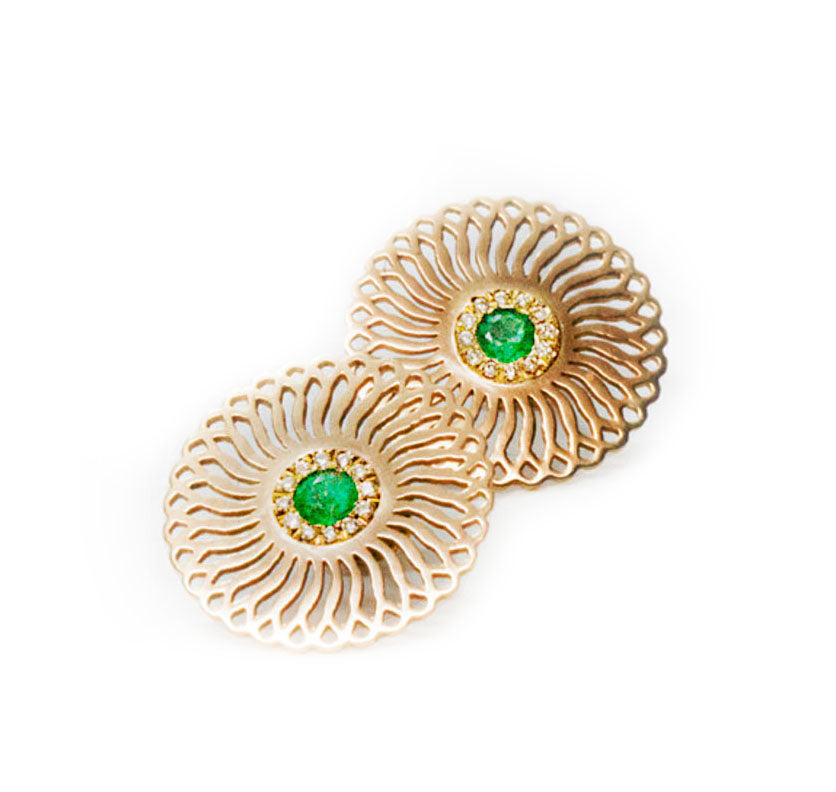 18K yellow gold- Emerald and diamonds Sunflower statement Stud Earrings