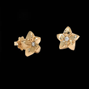 18 Karat Gold Flower Diamonds Stud Earrings