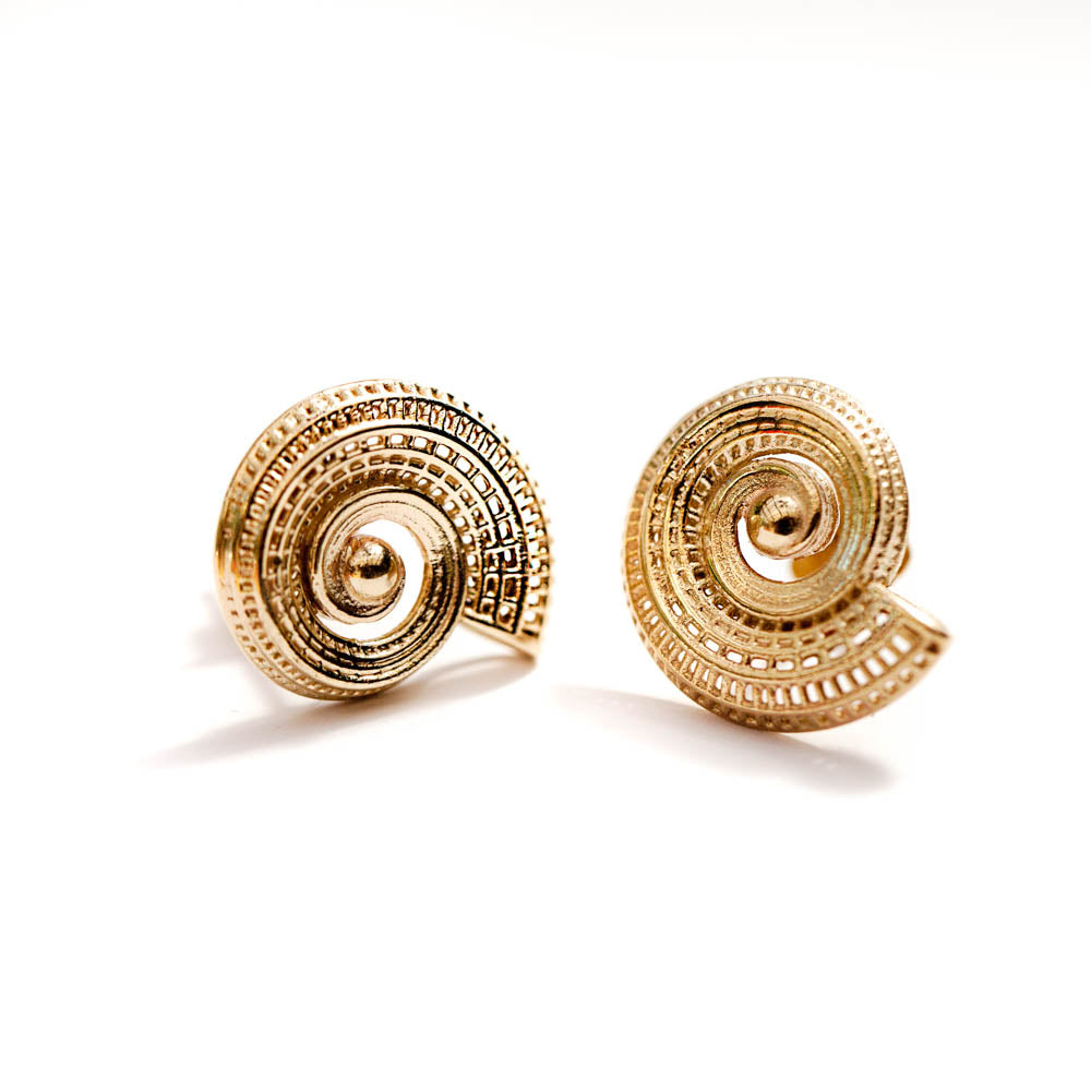 18k yellow gold  - Small Spiral statement Earrings