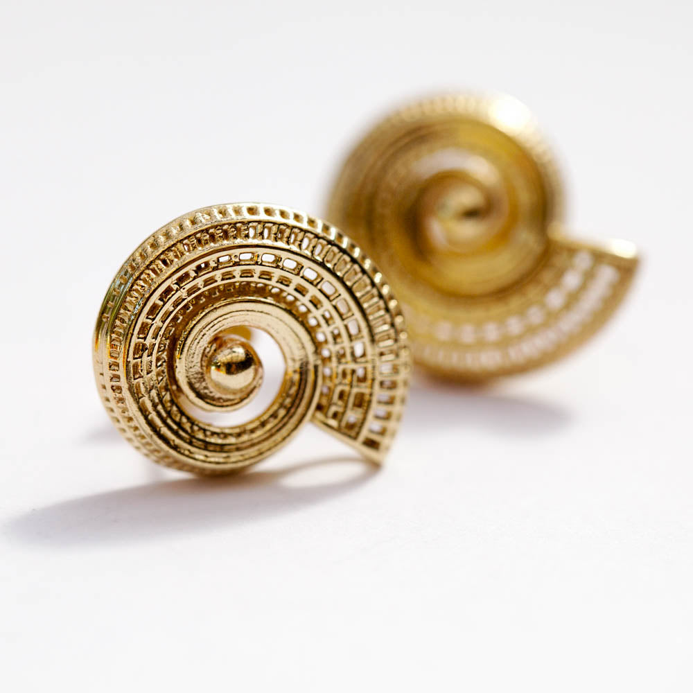18k yellow gold  - Small Spiral Unique Modern Earrings