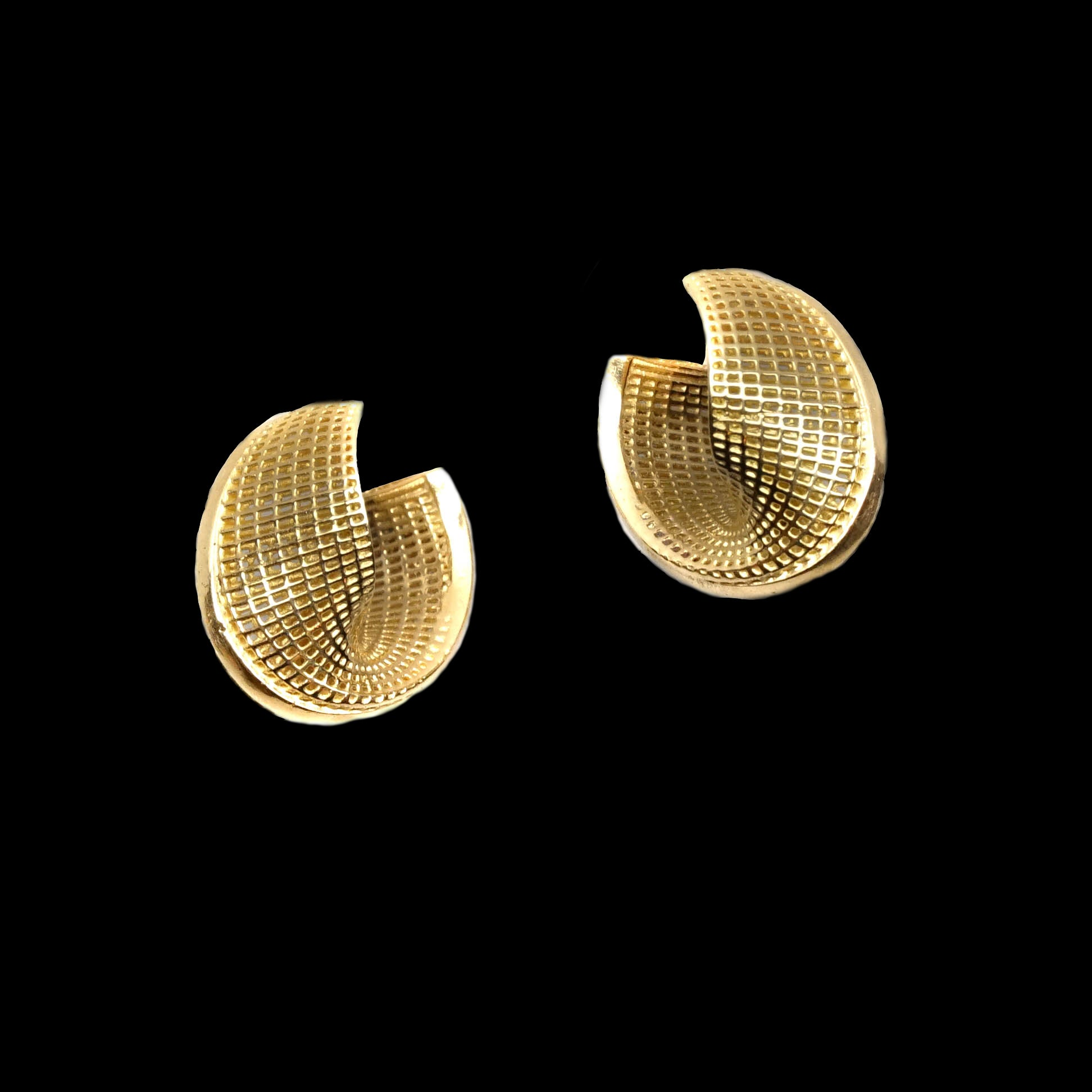 14k - Small Unique hoop Mobius - Line Model Earrings
