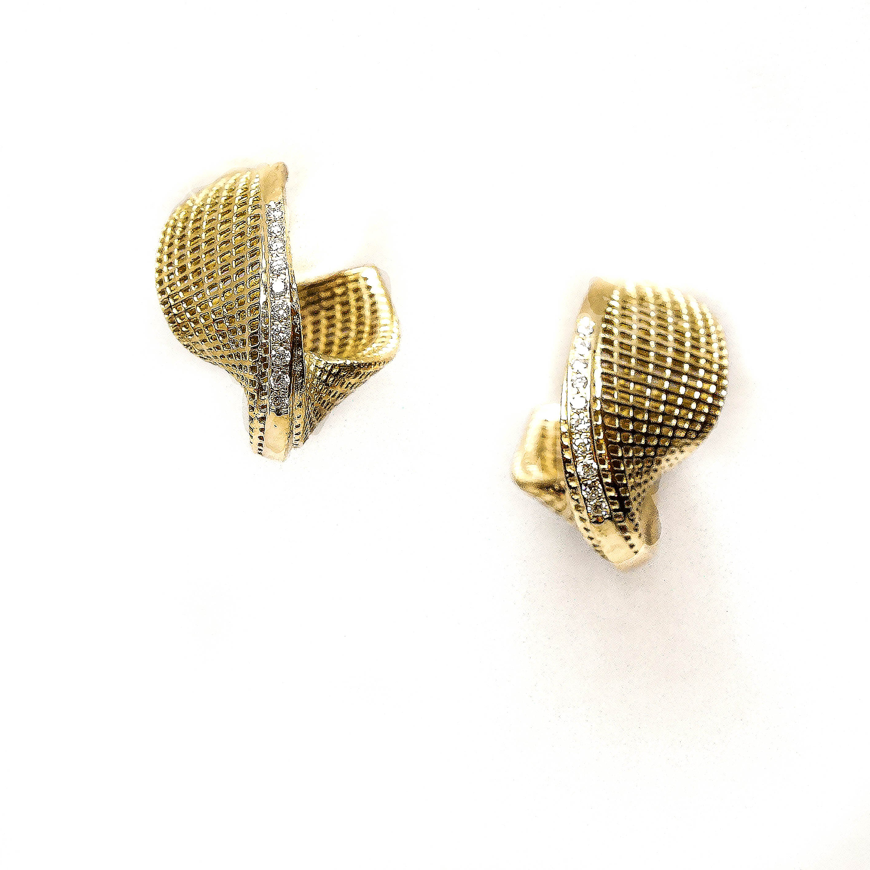 18K yellow gold- Diamonds Small Mobius Earrings -pave diamonds line