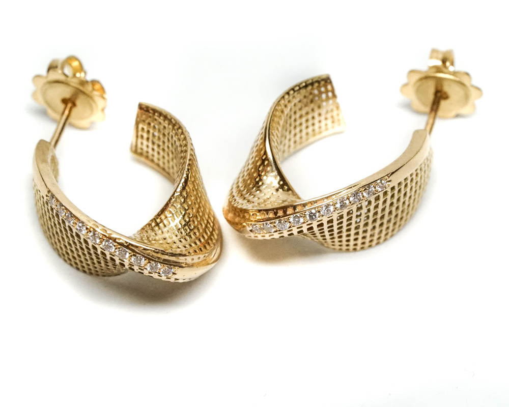 18K yellow gold- Diamonds Small Mobius Unique Earrings -pave diamonds line