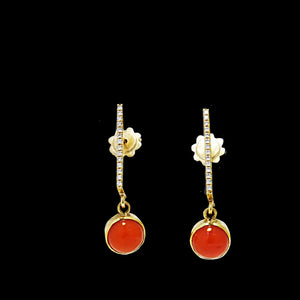 18k Gold white diamonds Coral Dangle Earrings