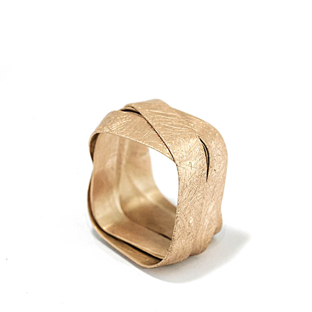 18K yellow gold- Square - 5 Loops Cocktail Ring