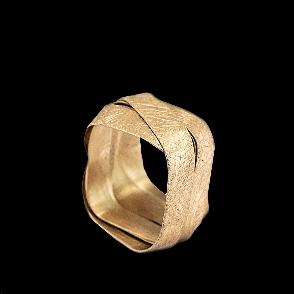 18K yellow gold- Square - 5 Loops Ring