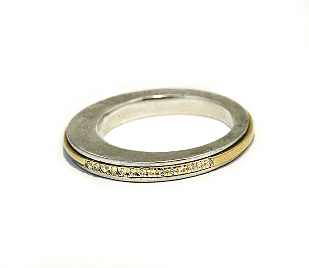 Stainless Steel ring - 18K Spinner Ring-12 DIAMONDS