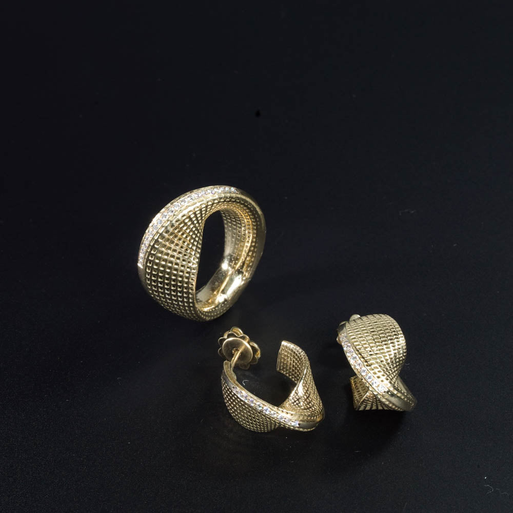 set of 18K yellow gold- Diamonds Small Mobius Earrings -pave diamonds line+ring