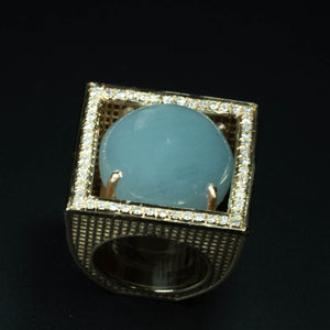 14 Karat Gold , VS Diamonds Aquamarine NET square Ring