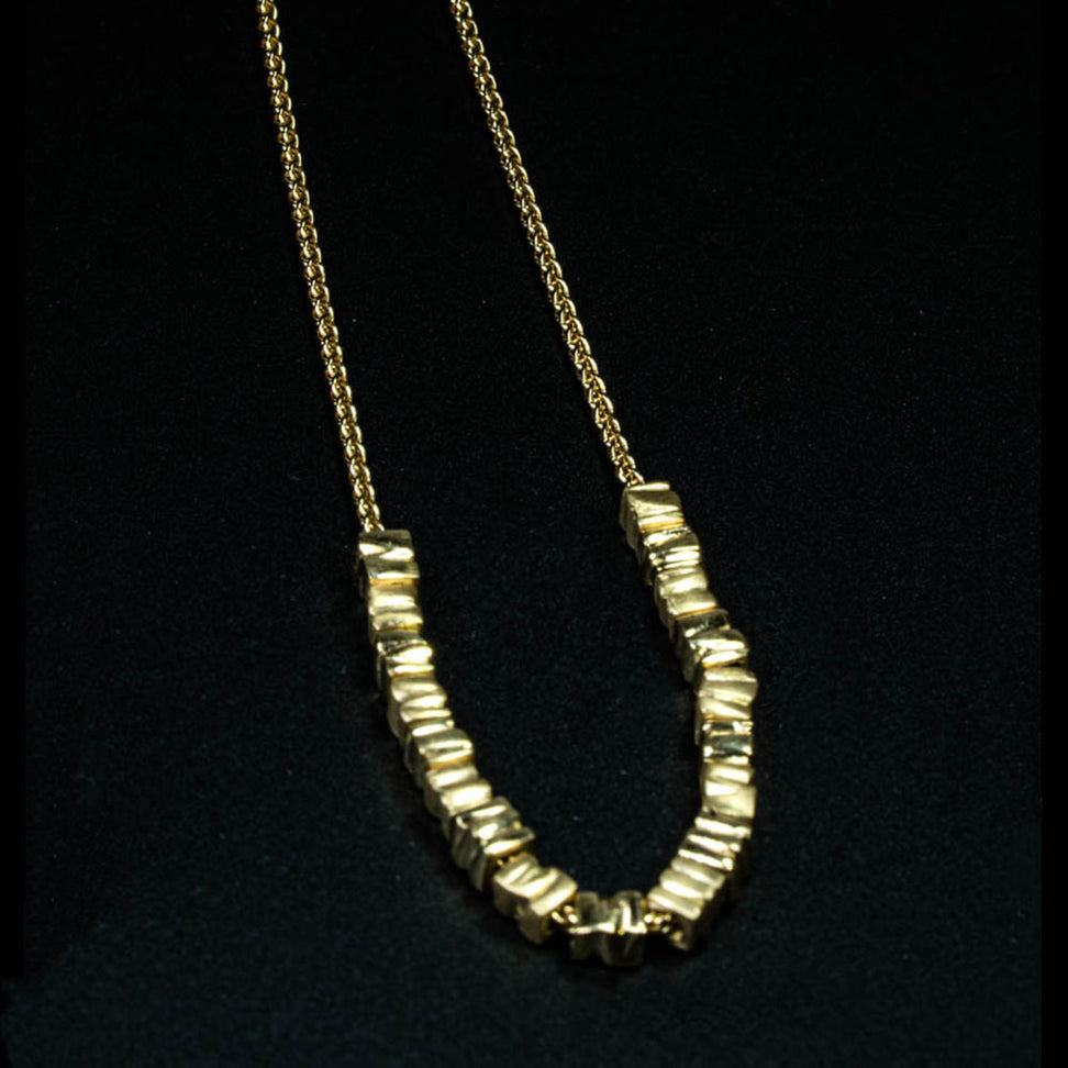 18K - Small 18 Smashed  Beads Necklace