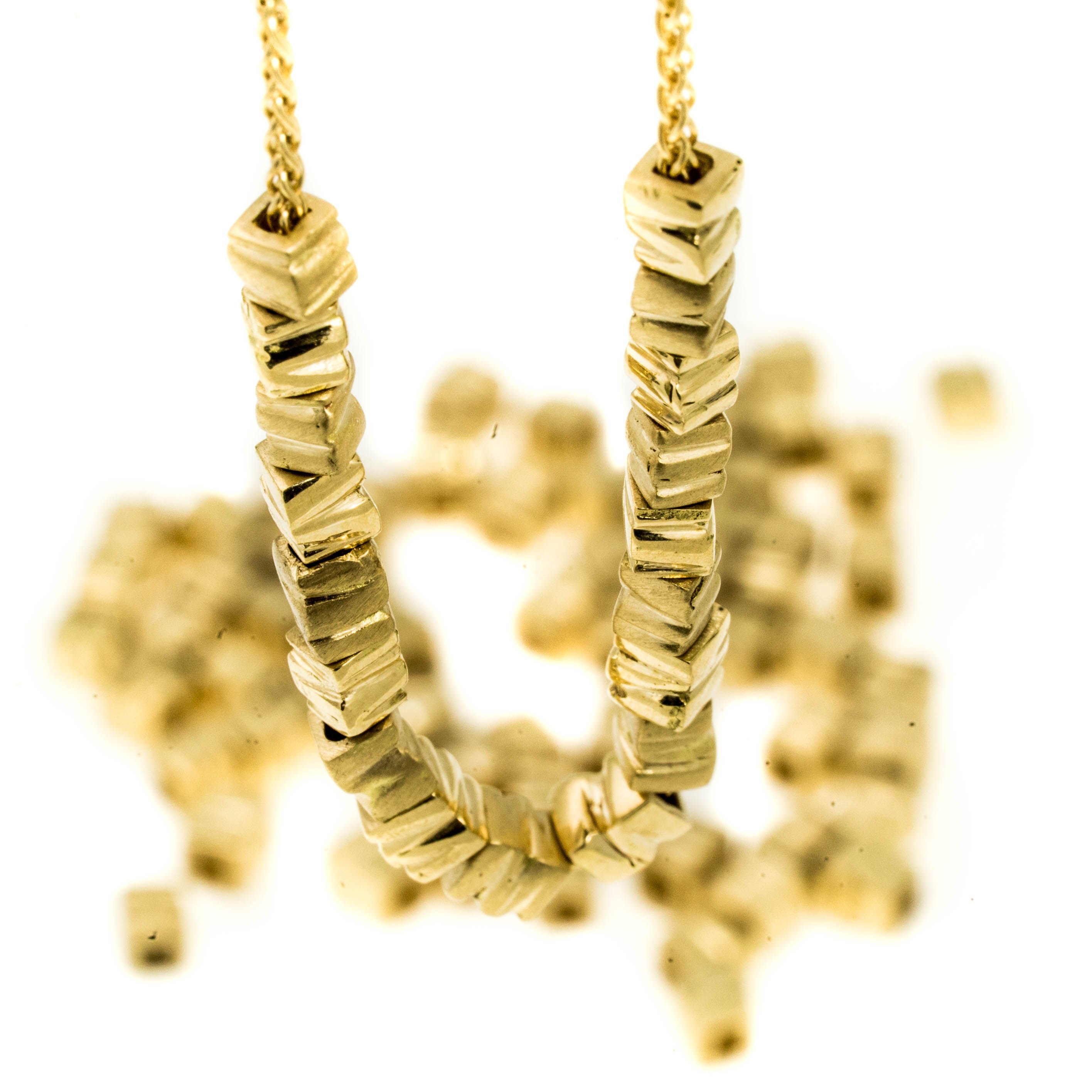 18K yellow gold- Small 34 Smashed Beads Unique Necklace