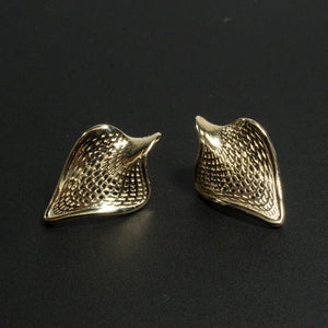 14 Karat Gold - Folded Leaf Stud Earrings=