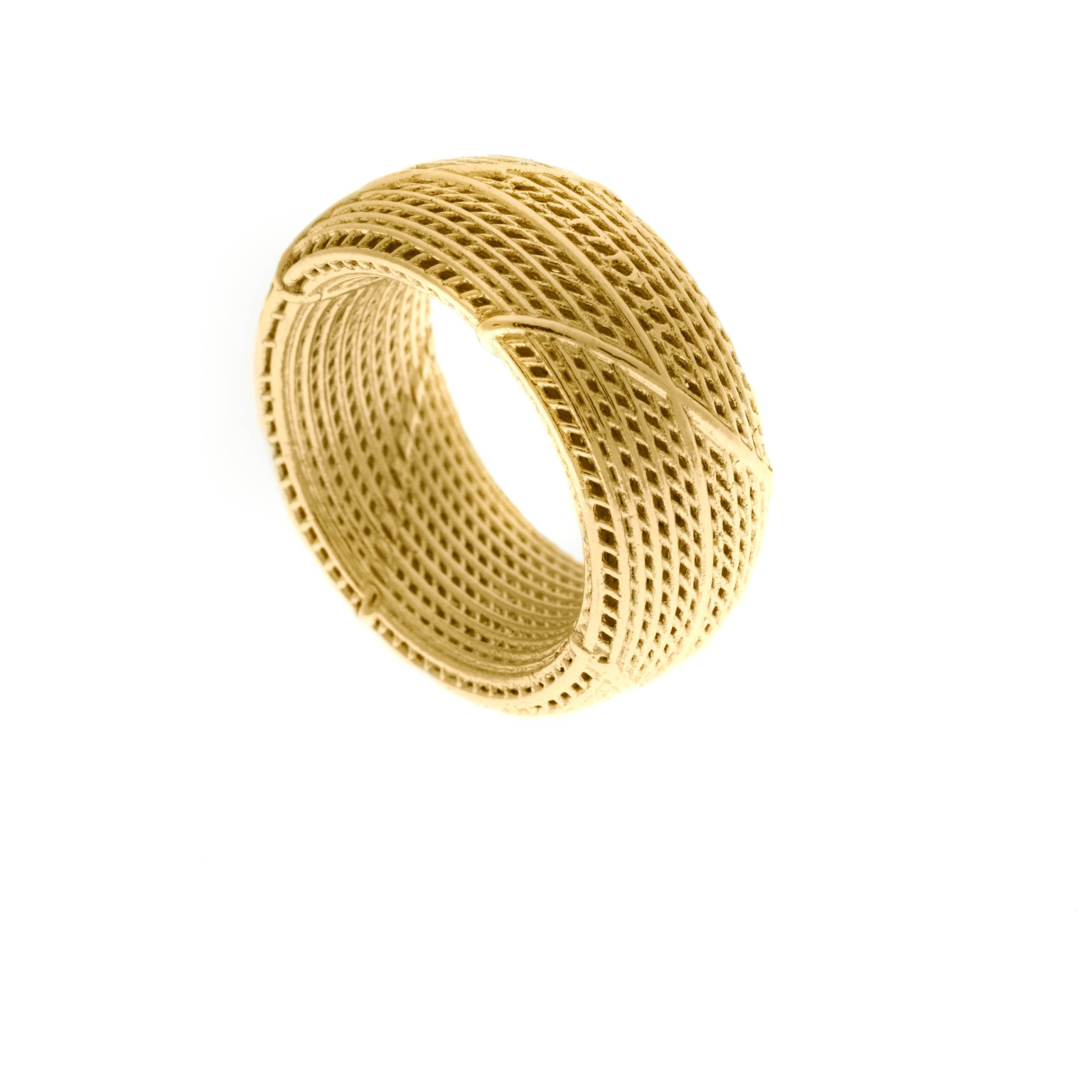 14K Yellow gold- Netline Wide Wedding Uniqe Ring