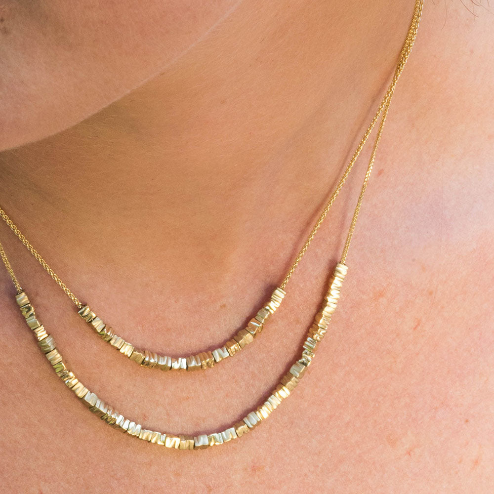 18K yellow gold- Small 34 Smashed Beads Contemporary Necklace