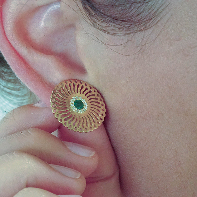 18K yellow gold- Emerald and diamonds Sunflower unique Stud Earrings