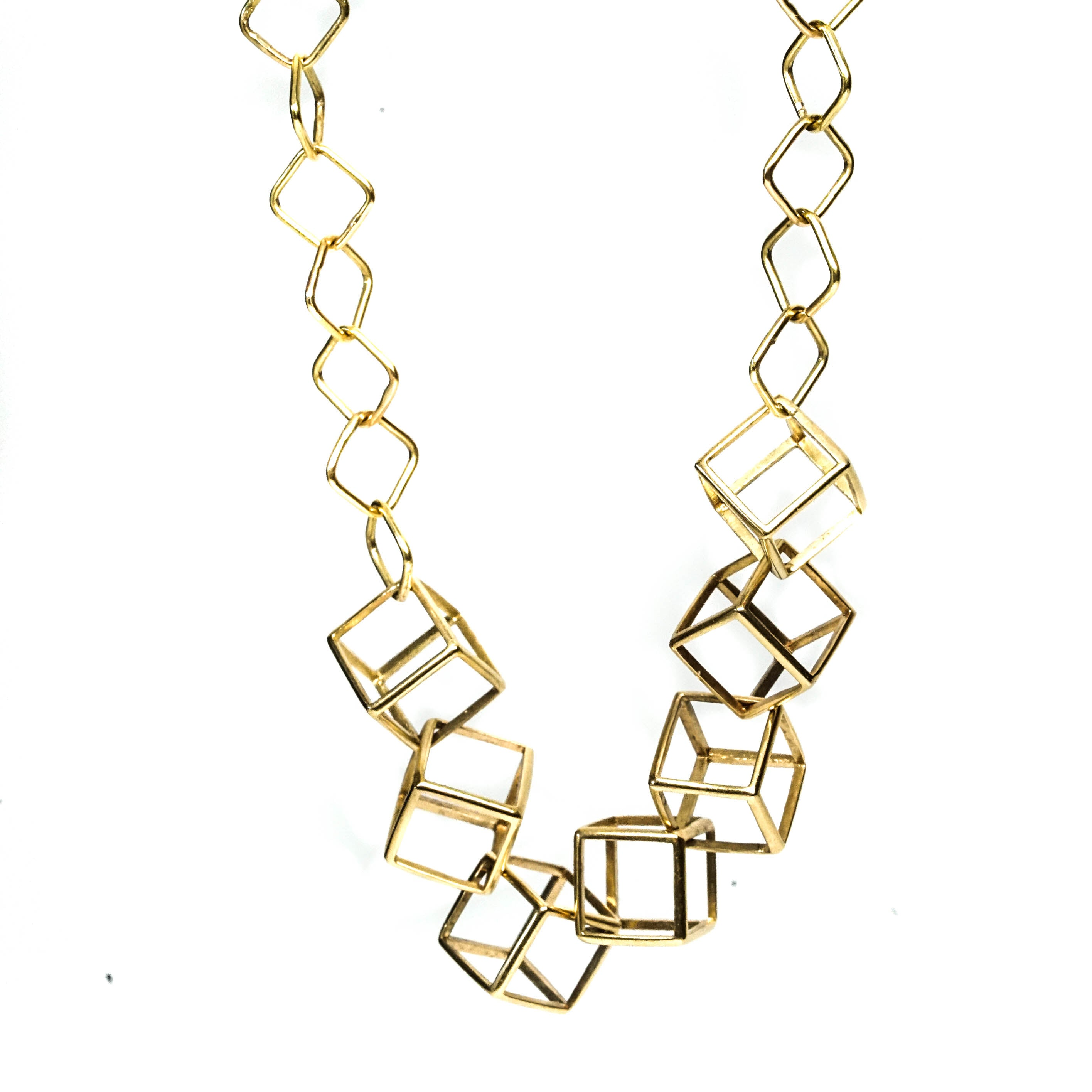 18K YELLOW GOLD- CUBES-  Contemporary Geometric Necklace