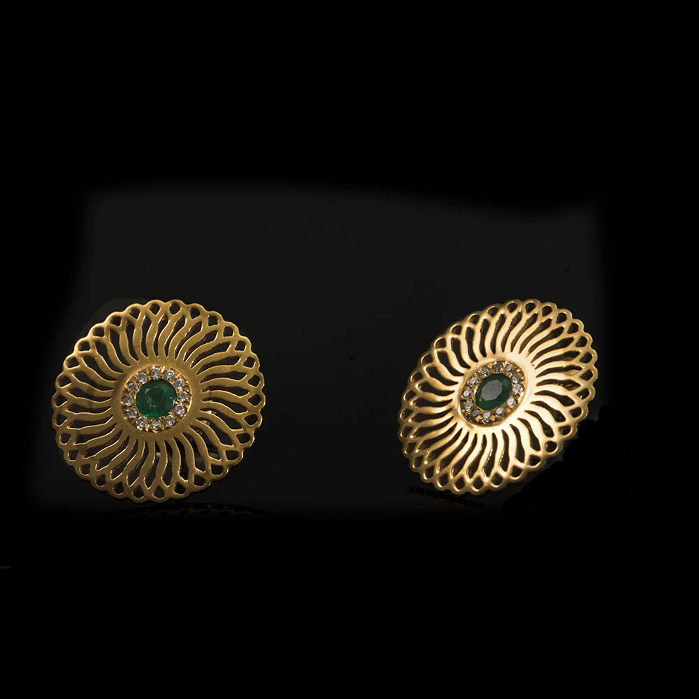 18 Karat Gold Emerald and diamonds Sunflower Stud Earrings