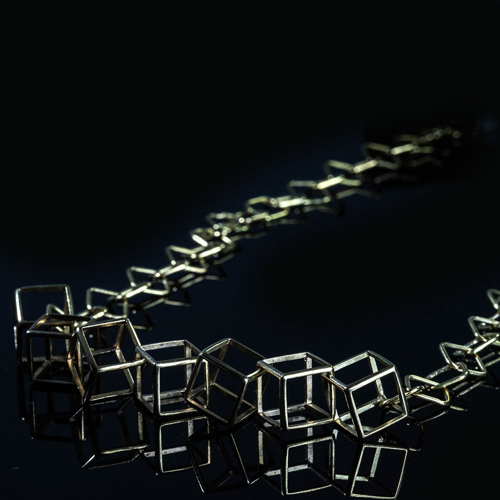 18K - CUBES- Unique, Contemporary Geometric Necklace
