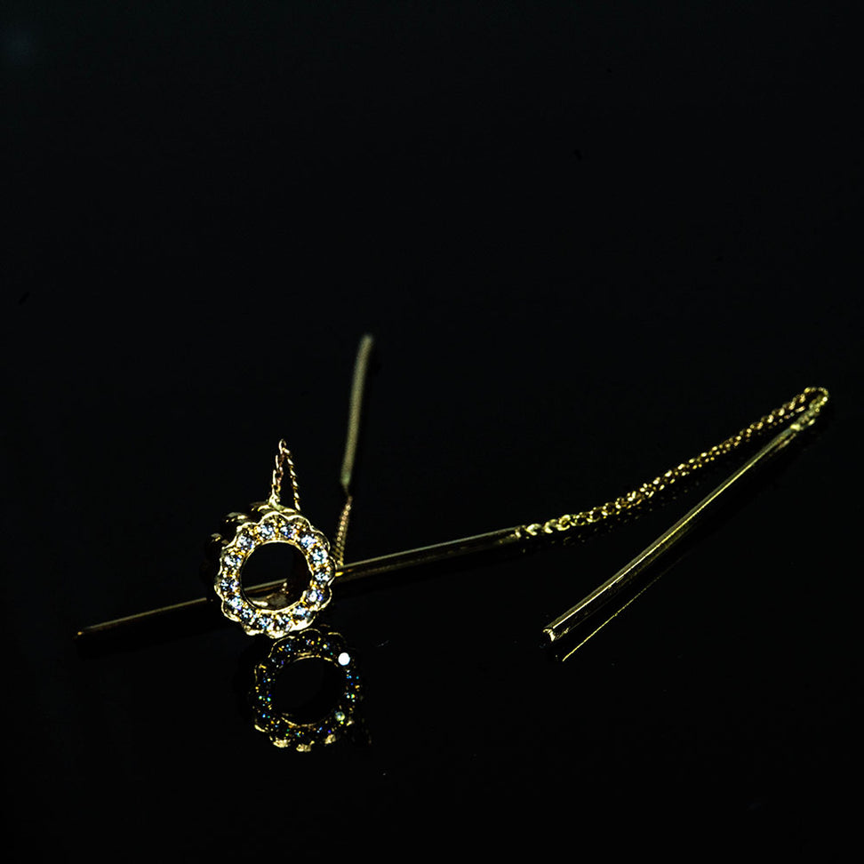 18K Diamond Flower on a chain Earring